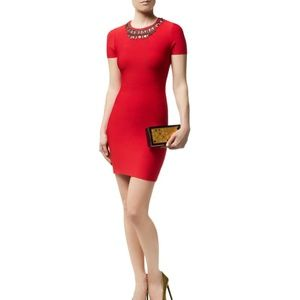 BCBG Embellished Cocktail Dress in Red